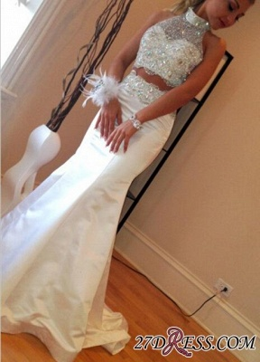 Luxury Sleeveless High-Neck Sweep-Train Mermaid Zipper Crystals Two-Piece Prom Dress UK_2