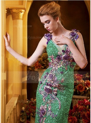 Sequined Sleeveless Mermaid Prom Dress UKes UK Vintage Gowns Straps Green Flower Embroidery Sweep Train Bowknot Evening_2