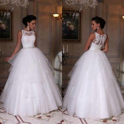 Modern White Scoop Neckline Sleeveless Wedding Dress Appliques Tulle Bridal Gowns_1