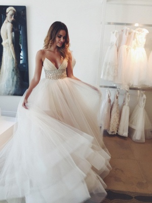 Elegant Spaghetti Straps Tulle Wedding Dresses UK Princess With Crystals BA3184_1