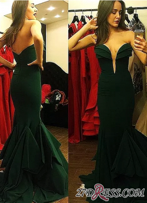 Long Mermaid Emerald-Green Sweetheart-Neck Ruffles-Skirt Elegant Prom Dress UKes UK_2