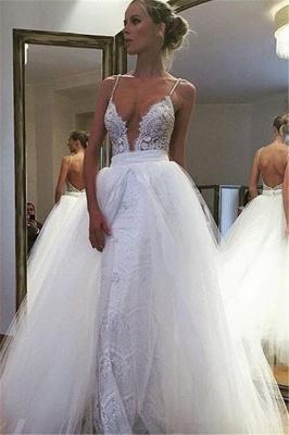 Gorgeous Spaghetti Strap Lace Ruffles Wedding Dress Online_1