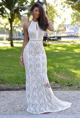 Lace Sweep-Train Mermaid Sleeveless Newest Prom Dress UK_2