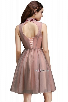 Burgundy-Flowers Hollow-Back High-Neck Tulle Sexy Homecoming Dress UKes UK_5