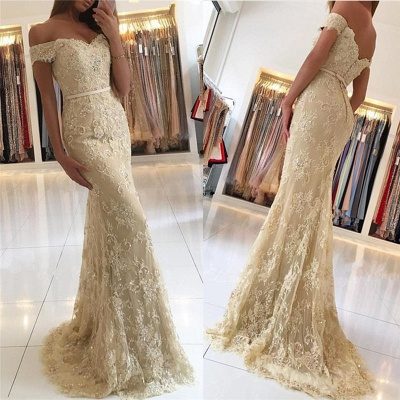 Luxury Off-the-Shoulder Mermaid Evening Dress UK Lace Appliques Long Party Gowns BA6944_2