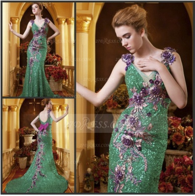 Sequined Sleeveless Mermaid Prom Dress UKes UK Vintage Gowns Straps Green Flower Embroidery Sweep Train Bowknot Evening_5
