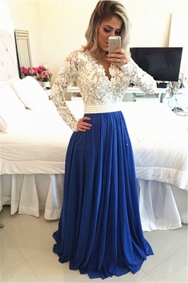 Gorgeous Long Sleeve Chiffon Prom Dress UK With Pearls And Lace Appliques BT0_1