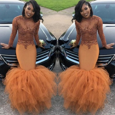 Modest Lace Appliques Mermaid Long Sleeve   Prom Dress UK BA8084 BK0_3
