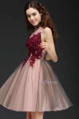 Burgundy-Flowers Hollow-Back High-Neck Tulle Sexy Homecoming Dress UKes UK_3