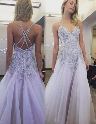 Elegant Beads A-line Spaghetti Strap Long Wedding Dress_1
