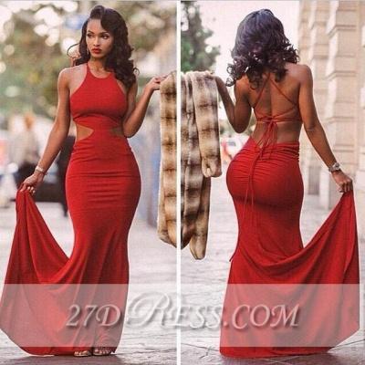 Red Backless Mermaid Prom Dress UKes UK Halter Neck Court Train  Evening Gowns BK0_2