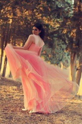 Romantic Cap Sleeve Tulle Pink Evening Dress UK Crystals Floor-length_3