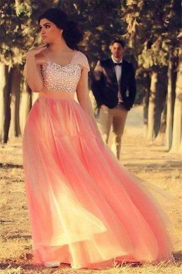 Romantic Cap Sleeve Tulle Pink Evening Dress UK Crystals Floor-length_1
