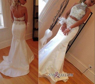 Luxury Sleeveless High-Neck Sweep-Train Mermaid Zipper Crystals Two-Piece Prom Dress UK_1