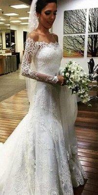 Elegant Lace Off-the-shoulder Wedding Dress Long Sleeve Sexy Mermaid_1
