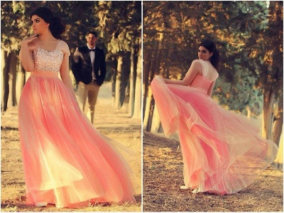 Romantic Cap Sleeve Tulle Pink Evening Dress UK Crystals Floor-length_2
