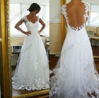 Lace  CustomWedding Dresses UK Off the Shoulder Freeshipping Low Price_3