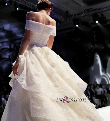 Off-the-Shoulder Floor-Length Elegant Ruffles Lace Princess Wedding Dress_5