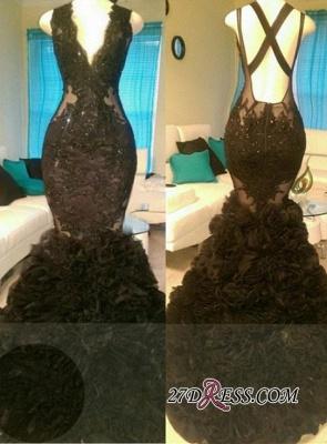 Appliques Black Gorgeous Open-Back V-Neck Mermaid Tulle Prom Dress UK_2