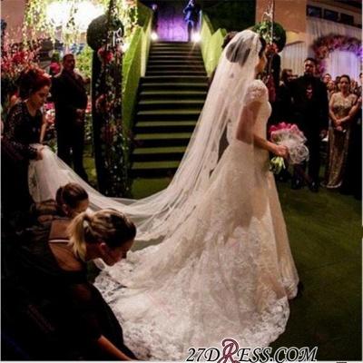 A-line Sweep-Train Short-Sleeve Zipper Newest Lace Wedding Dress BA4575_2