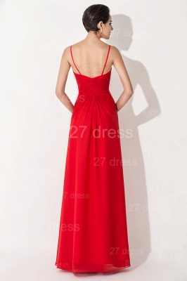 Red Chiffon A-line Evening Dress UK Spaghetti Strap_3