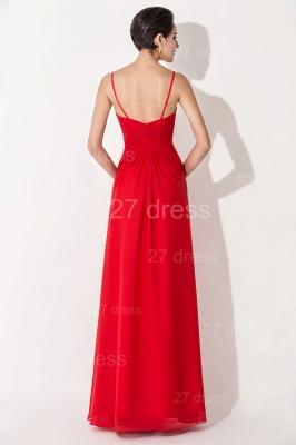 Red Chiffon A-line Evening Dress UK Spaghetti Strap_3