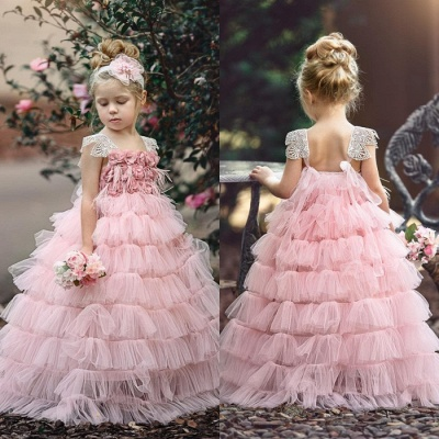 Pink Layers Tulle Flower Girl Dress | 2019 Lace Princess Girls Pageant Dress BA9852_4