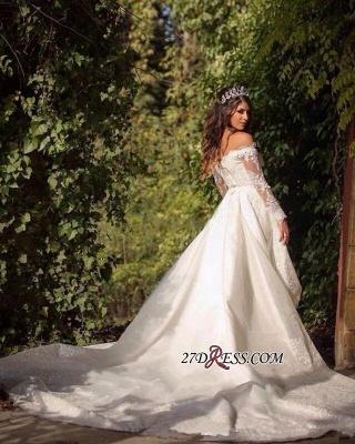 Pretty Long-Sleeve Lace Princess Off-the-Shoulder Wedding Dress_1