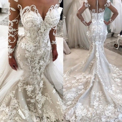 Delicate Lace Appliques  Sexy Mermaid Wedding Dress | Long Sleeve Bridal Gown BA9786_3