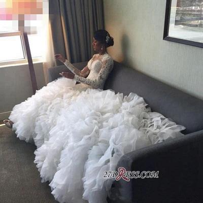 Ruffles Sexy Mermaid Long-Train Delicate Lace-Appliques Wedding Dress_3