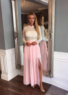 Zipper High-Neck Sexy Split Lace Chiffon Long-Sleeve A-line Prom Dress UK_1