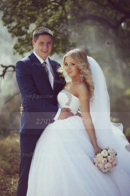 Crystal Tulle Ball Gown Wedding Dresses UK with Sweetheart Sleeveless Sequins Lace-up Court Train Bridal Gowns_2
