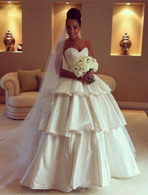 Gorgeous Sweetheart Layered Wedding Dresses UK Ball Gown Floor Length Bridal Gown_1
