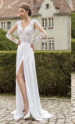New Arrival Lace Long Sleeves Sweetheart Chiffon Prom Dress UK With Split_2