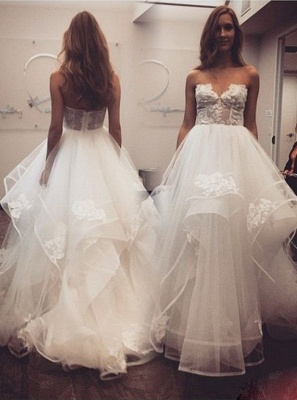Delicate A-line Sweetheart Lace Tulle Cheap Wedding Dress_1
