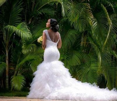 Elegant V-Neck Sexy Mermaid Wedding Dress Beadss Tulle_4