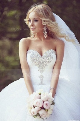 Crystal Tulle Ball Gown Wedding Dresses UK with Sweetheart Sleeveless Sequins Lace-up Court Train Bridal Gowns_3