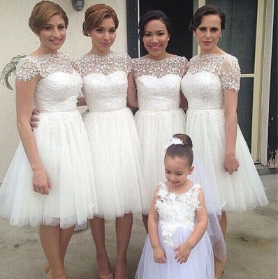 Romantic White Tulle Lace Bridesmaid Dress UK Short Sleeve_3