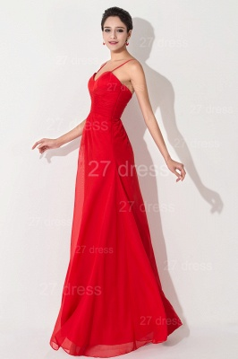 Red Chiffon A-line Evening Dress UK Spaghetti Strap_2