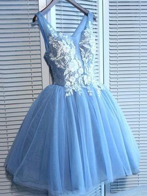 Sexy Blue Short Homecoming Dress UKes UK | V-Neck Lace-Up Cocktail Dress UKes UK_1