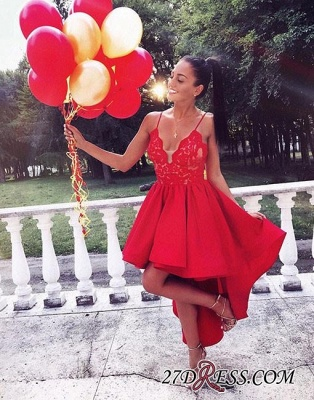 Cute Red High-low A-line Lace V-neck Homecoming Dress UK BA6902_1