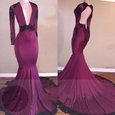 Burgundy Lace Prom Dress UK   Mermaid V-Neck Black Lace Evening Gowns BA7833_3