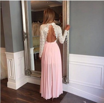 Zipper High-Neck Sexy Split Lace Chiffon Long-Sleeve A-line Prom Dress UK_2