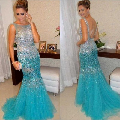 Gorgeous Sleeveless Beadings Crystals Prom Dress UKes UK Mermaid Tulle Party Gowns_4