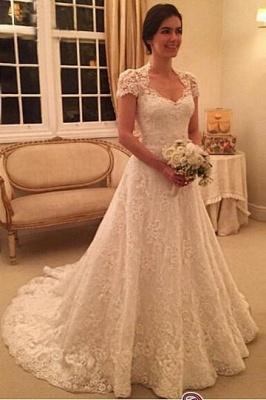 A-line Sweep-Train Short-Sleeve Zipper Newest Lace Wedding Dress BA4575_4