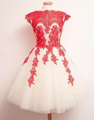 Newest Mini Lace Appliques Homecoming Dress UK Cap Sleeve Jewel_2