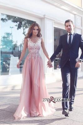Appliques Sleeveless Pink Floor-Length A-Line Evening Gowns BA4358_2