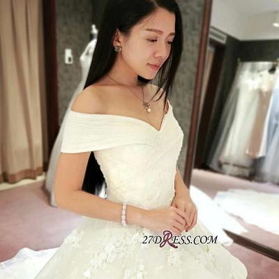 Off-the-Shoulder Floor-Length Elegant Ruffles Lace Princess Wedding Dress_3