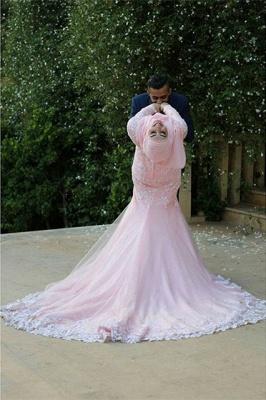 Timeless Pink Lace Appliques Arabic Wedding Dress Court Train Illusion_5