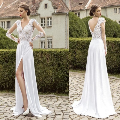 New Arrival Lace Long Sleeves Sweetheart Chiffon Prom Dress UK With Split_3
